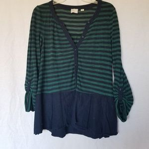 Anthopologie postmark striped peplum top size M.